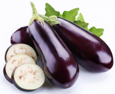 Aubergine on a white background