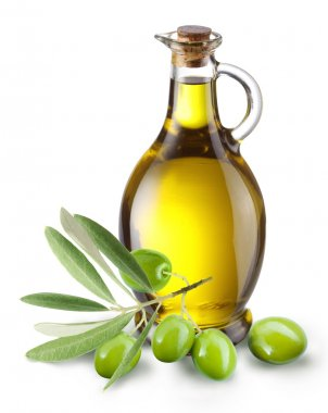 Branch with olives and a bottle of olive oil.