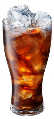 Pouring of cola in the glass with ice