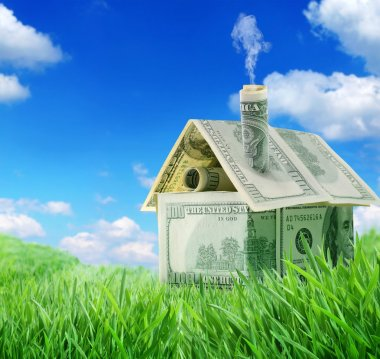 Dollar house in a green grass field over blue sky
