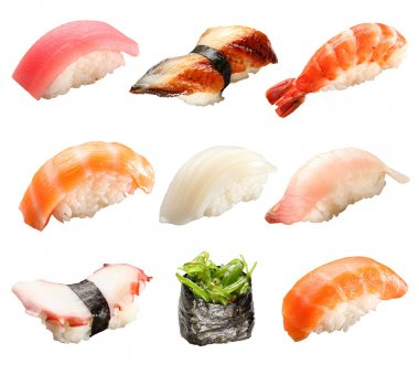 Japanese sushi isolated on a white background