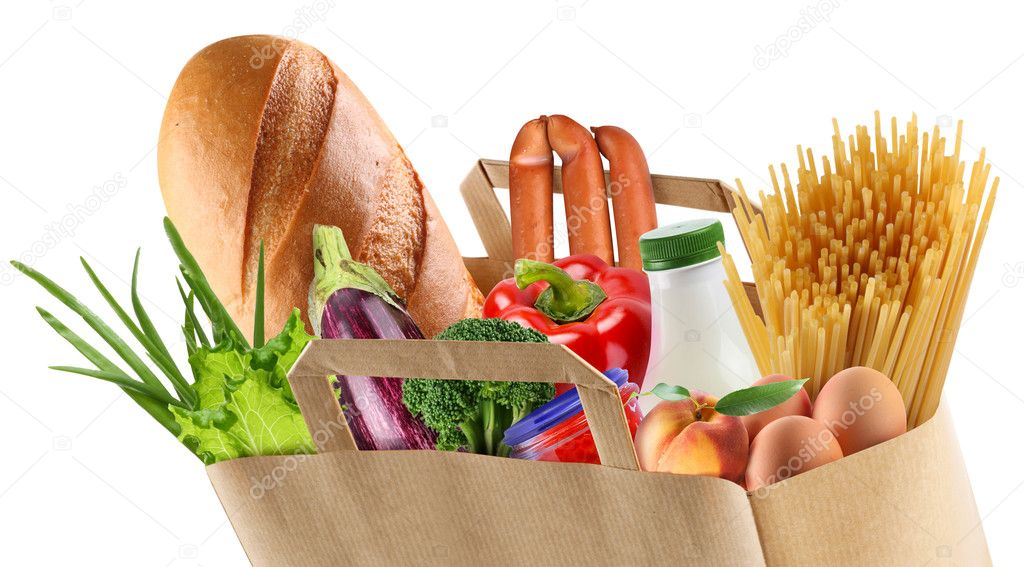 Paper bag with food on a white background.