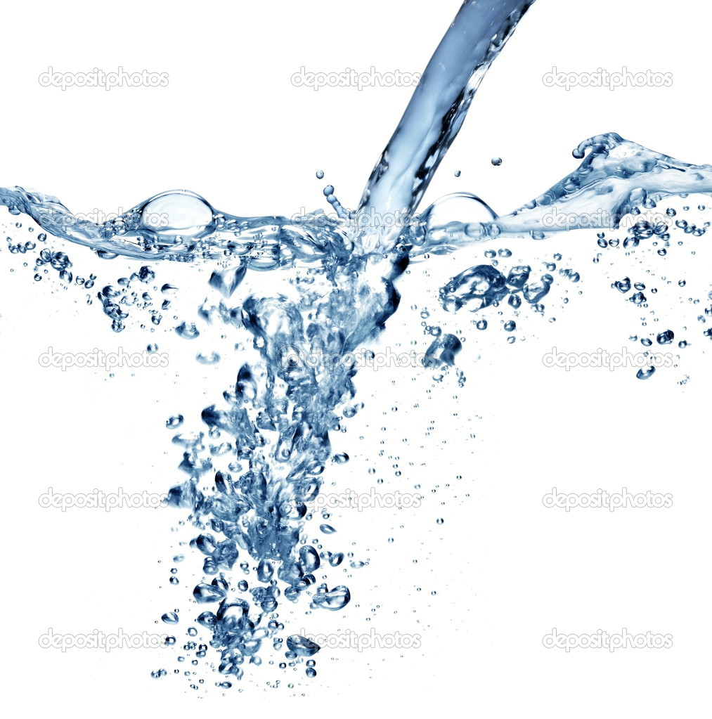 Flowing water with air bubbles on a white background.
