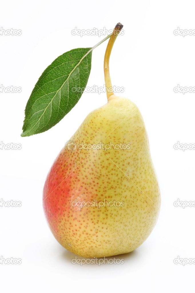 One ripe pear with a leaf.
