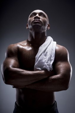 Black man with strong and sexy body