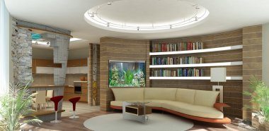 3d rendering. Modern interior of a drawing room of a room shelfs and an aqu