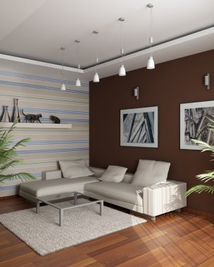 3d rendering. Meeting room with an angular sofa and pictures on a brown wal
