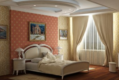 3d rendering. Bedroom with the big double bed with white bed. Design in cla