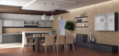 3d rendering. Kind on kitchen and a spacious dining room with a greater din