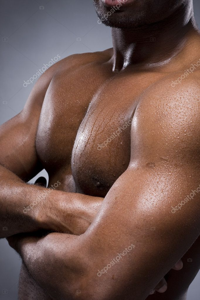 Hommes Noirs Sexy homme noir avec un corps fort et sexy — photographie slinky © #3431034