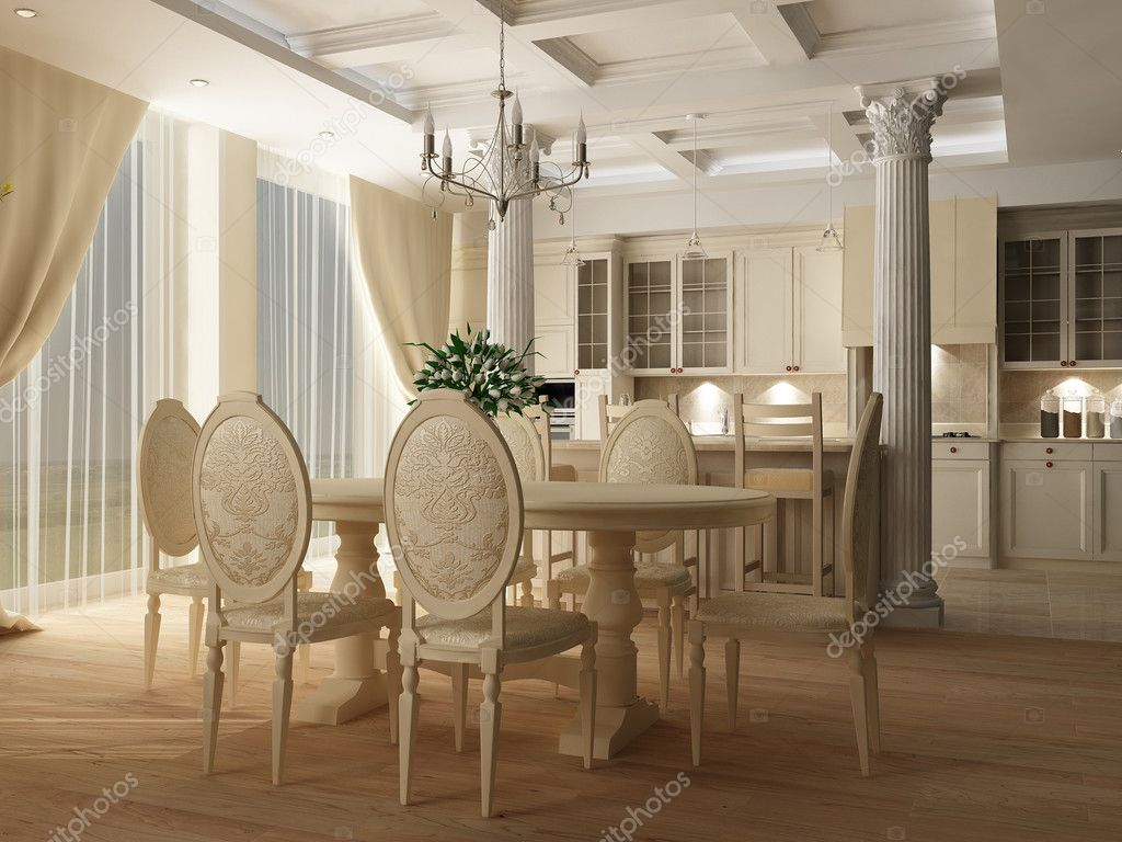 3d rendering interior of a table room in in classical style with interior of a table room in in classical style with a kind on kitchen and a bar rack photo by slinky