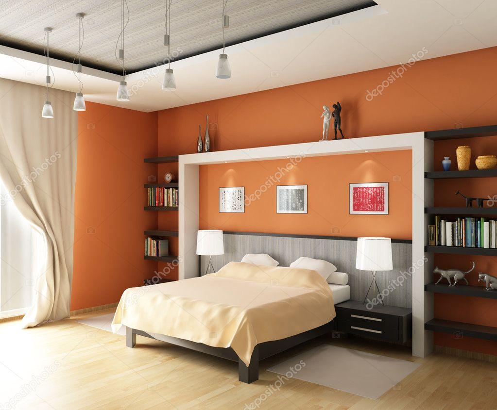 rendu 3D. chambre moderne avec le grand lit au pastel et des tons ...