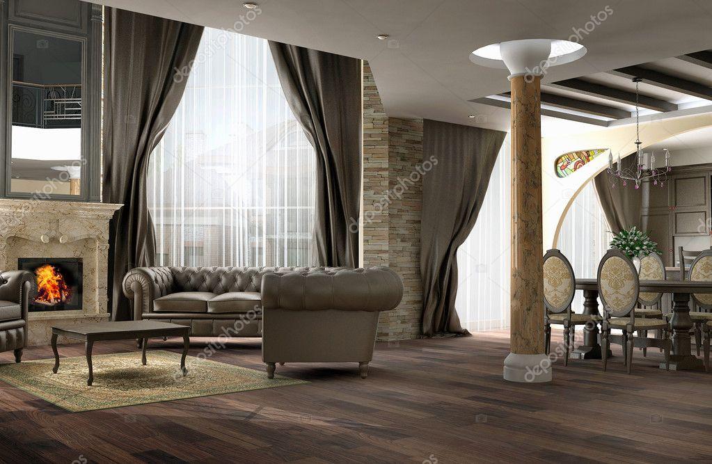 Interieur van de kamer van een tekening van een kamer in klassieke stijl met een leerbank - Kamer deco stijl ...