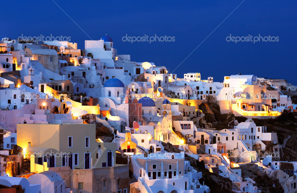 The village of Oia at dusk