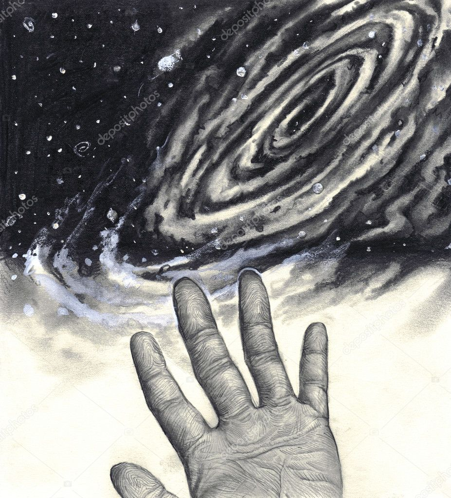 Universe, hand, reaching for the stars