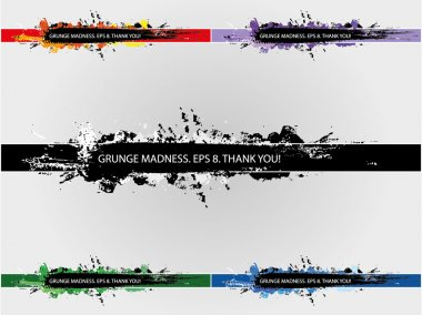 Grunge banners set in five colors