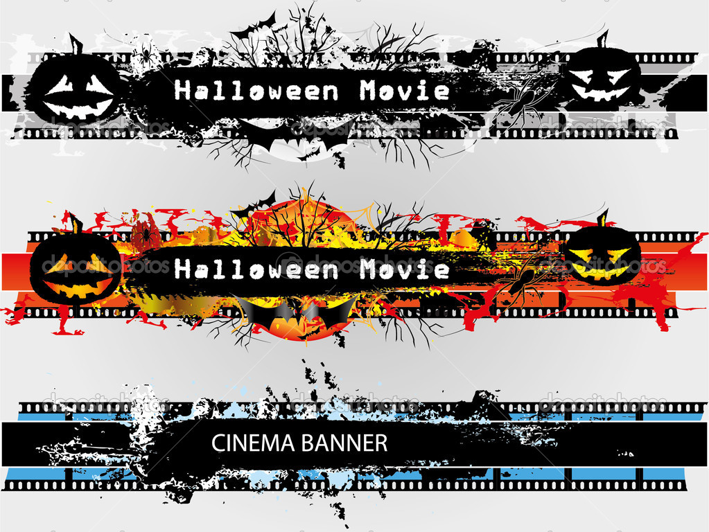 grunge banners set for halloween and plain stock vector