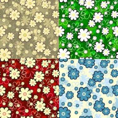 4 colors seamless floral texture, this illustration may be useful as designer work stock vector
