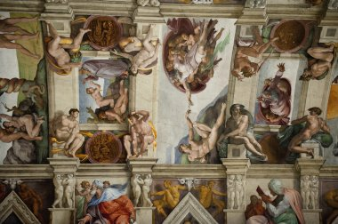 The ceiling in the Sistine Chapel in the Vatican