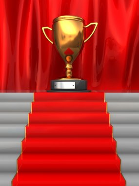 3d illustration of stairway to trophy cup with red carpet stock vector