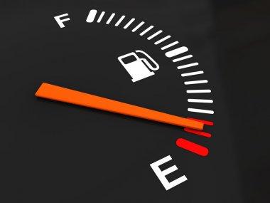 3d illustration of generic fuel meter over dark background stock vector