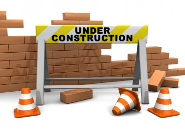 3d illustration of under construction banner and brick wall stock vector