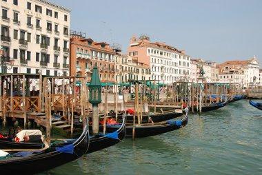 Venice harbour with gondolas