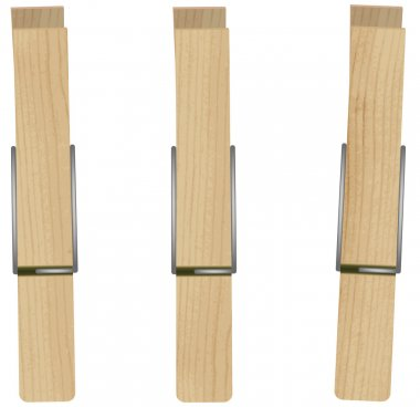 Vector illustration of three clothespins.