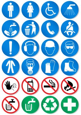 Vector set of international communication signs. All vector objects are isolated and grouped. Colors, shadow and transparent background are easy to adjust. stock vector