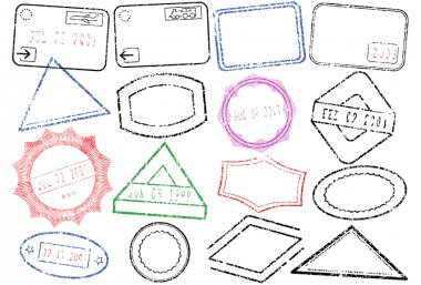 Vector set of passport or post stamps. Objects are isolated. Stamps have transparent background. Colors and transparent background are easy to adjust. clip art vector