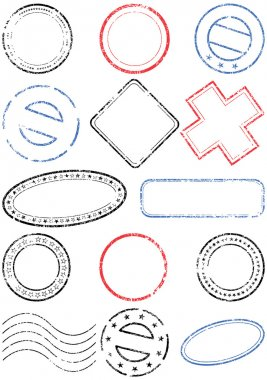 A set of different stamps. All vector objects are isolated. Stamp colors, transparent background color and text are easy to customize. clip art vector