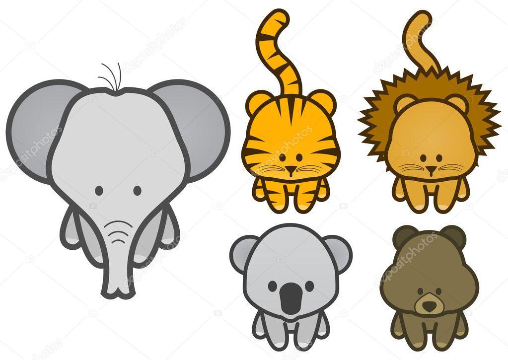 Vector Illustration Satz von Cartoon-Wild oder Zoo-Tiere ...