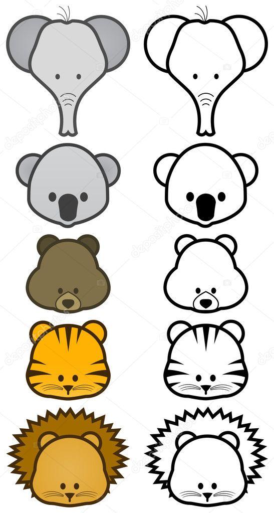 Imagenes Animales Animados Faciles Vector Ilustracion Conjunto De