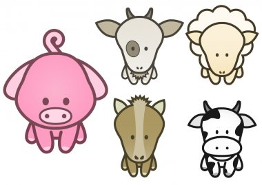 Vector illustration set of cartoon farm animals.
