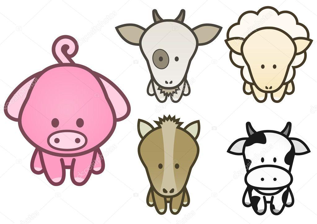 Conjunto De Ilustracion Vectorial De Dibujos Animados De Animales De
