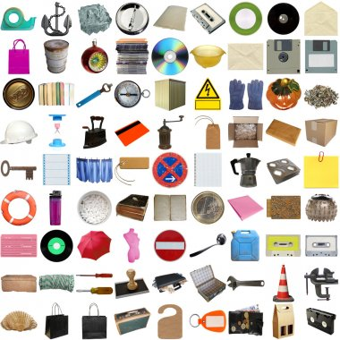 Many object isolated over a white background (all pictures in the collage are mine) stock vector