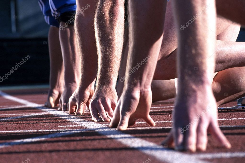 Athlete runners hands at start line stock vector