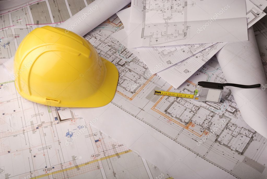 Yellow helmet and plans rools
