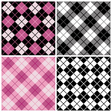 Argyle-Plaid Pattern in Magenta, Black and White