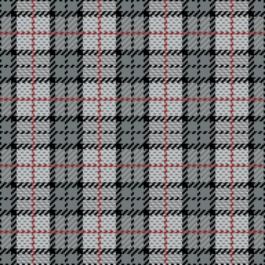 Pixel Plaid in Gray with Red Stripe