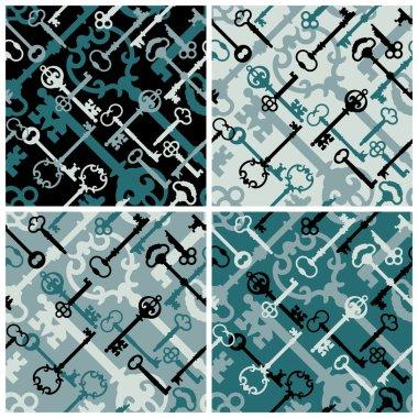 Skeleton Keys Pattern in Black and Blue