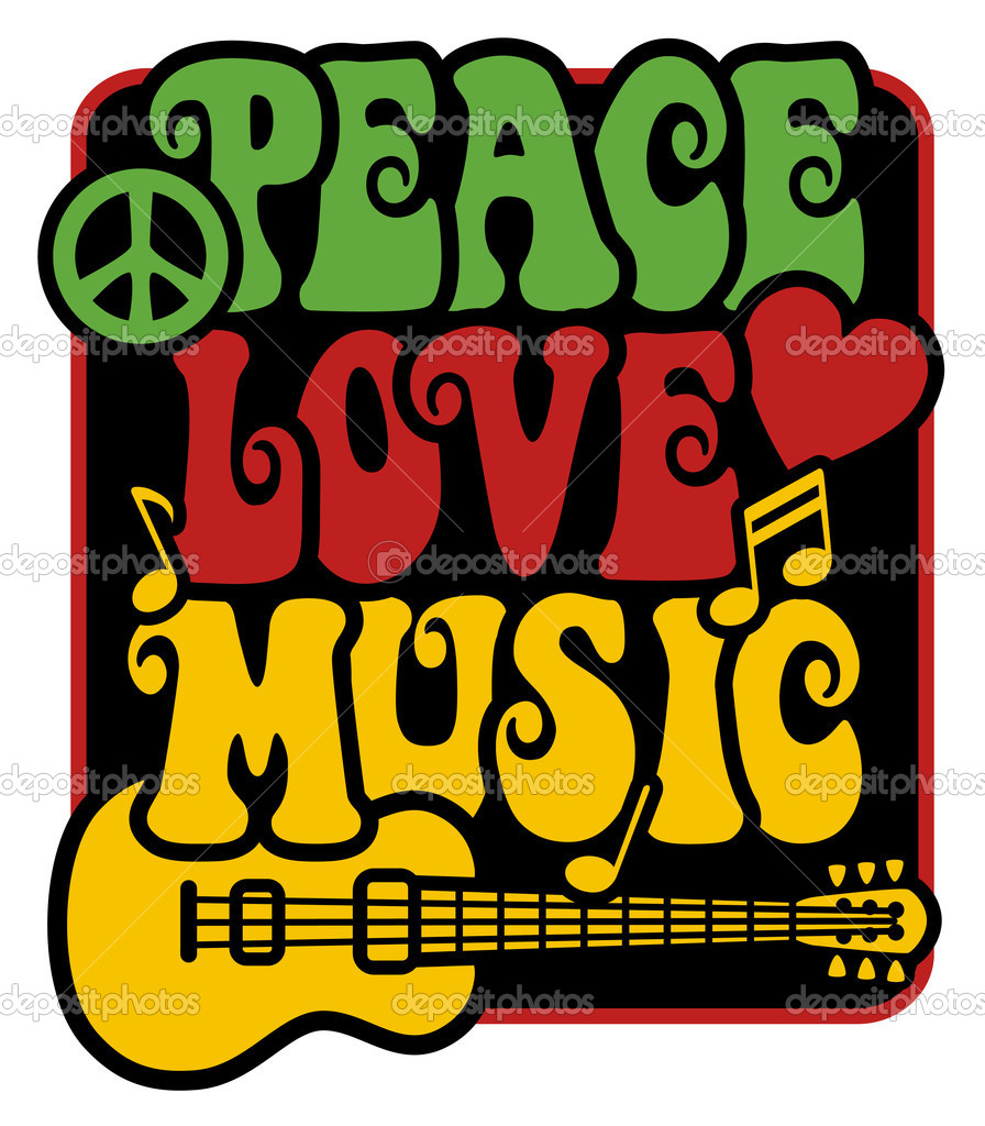 Peace love music in rasta colors stock vector lisann 3718703 retro style design of peace love and music with peace symbol heart musical notes and guitar in rasta colors vector by lisann biocorpaavc Image collections
