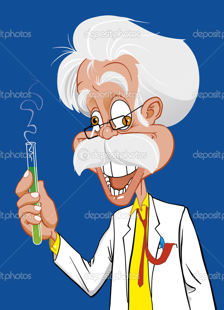 evil cartoon scientist - 433×600