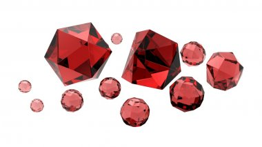 Isolated beautiful rubies