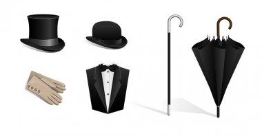 Set of hats, walking stick, umbrella, gloves, tuxedo
