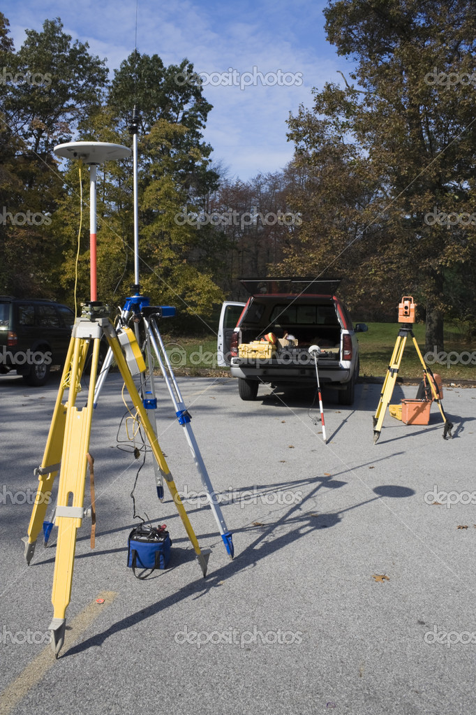 Survey equipment ready for work