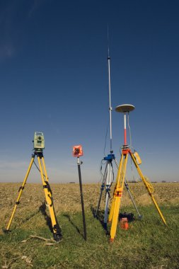 GPS unit, Total station and Prism