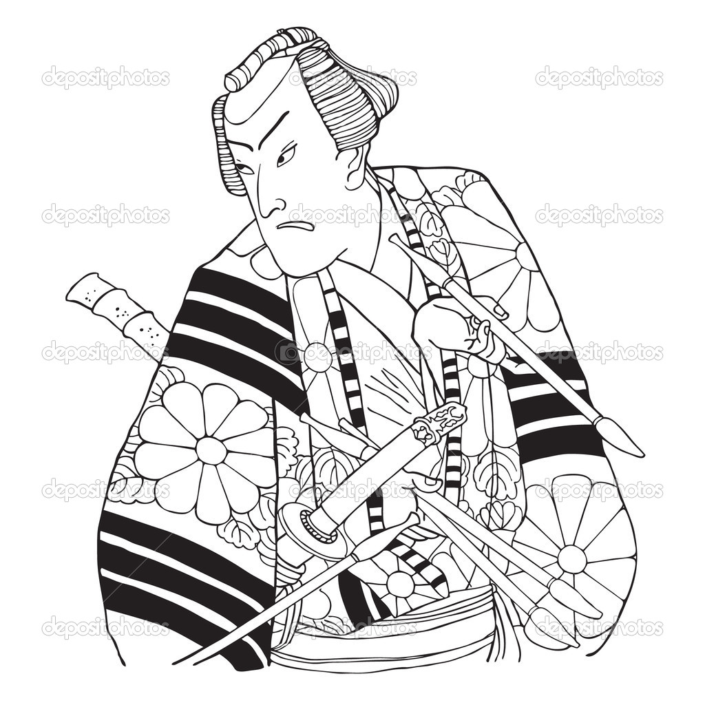 Japanese samurai. Vect...