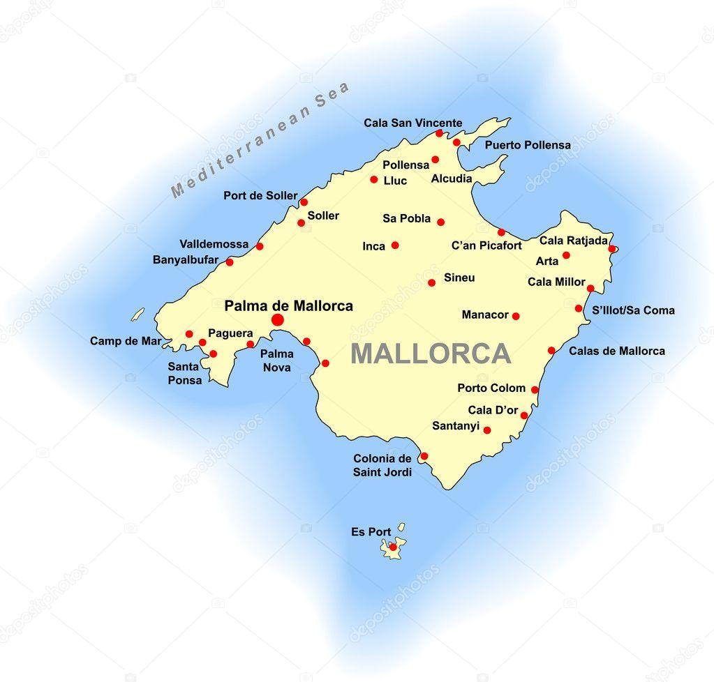 mallorca térkép vector mallorca kaart — Stockvector © DylanBZ #3545157 mallorca térkép
