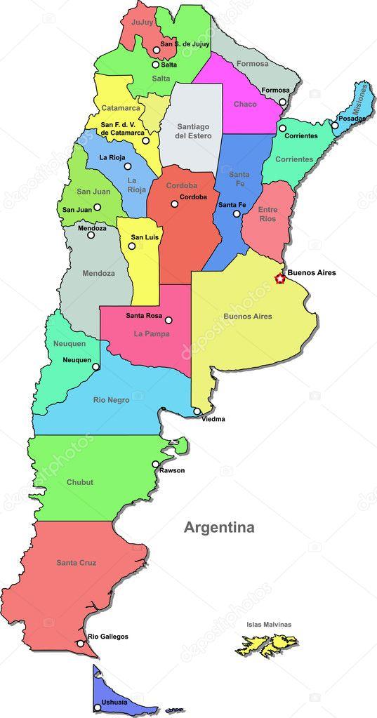 Color Del Vector Mapa Argentina Archivo Imágenes Vectoriales - Argentina mapa